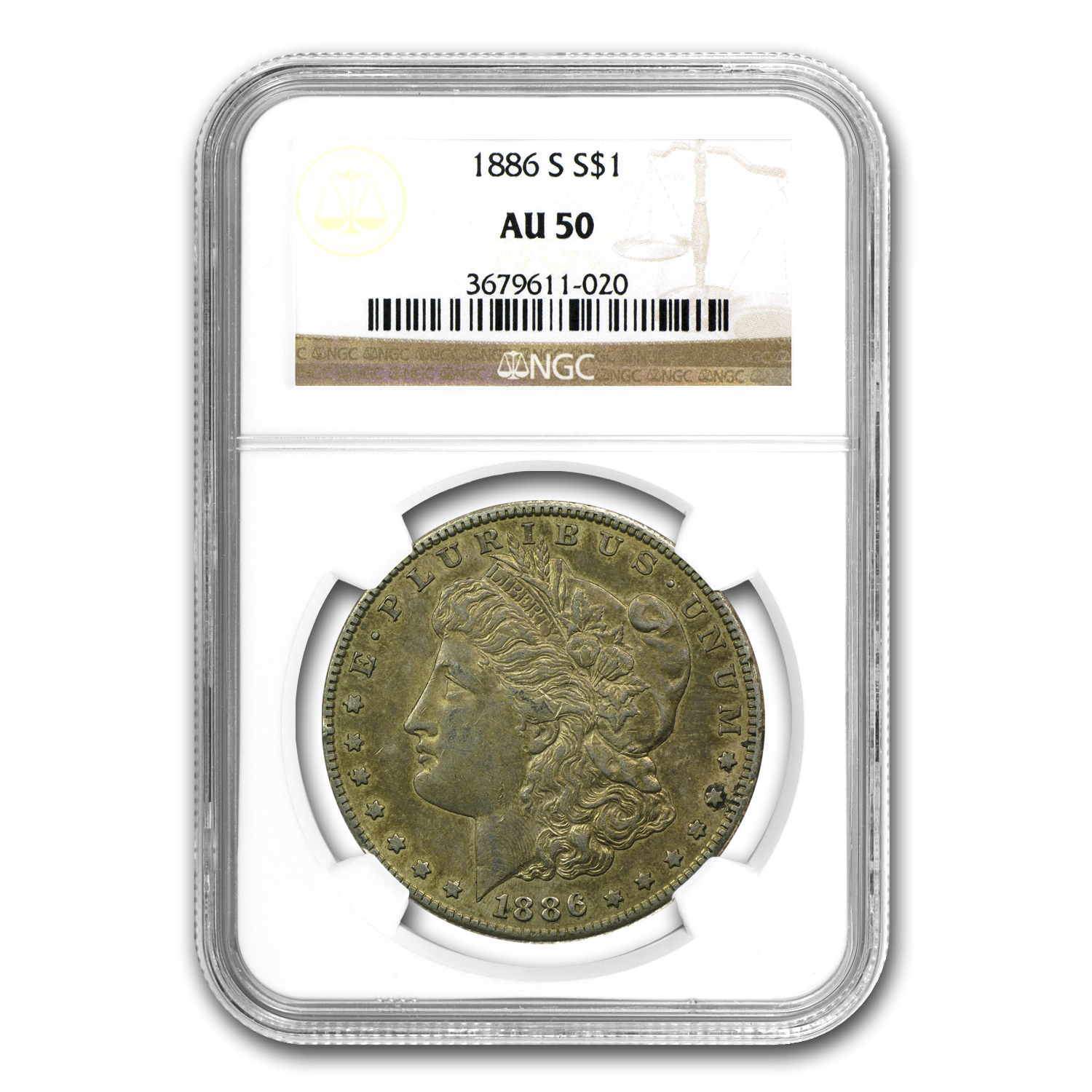 1886-S Morgan Dollar Almost Uncirculated-50 NGC